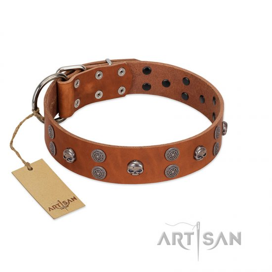 """Road Rider"" FDT Artisan Tan Leather Doberman Collar with Old Silver-like Skulls and Medallions"