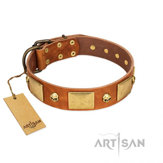 """Mutt The Daredevil"" FDT Artisan Tan Leather Doberman Collar with Old Bronze-like Skulls and Plates"