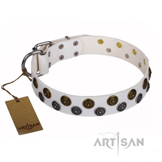 """Snowflake"" FDT Artisan White Leather Doberman Collar with Sparkling Round Plates"