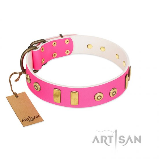 """Prim'N'Proper"" Handmade FDT Artisan Pink Leather Doberman Collar with Old Bronze-like Dotted Studs and Tiles"