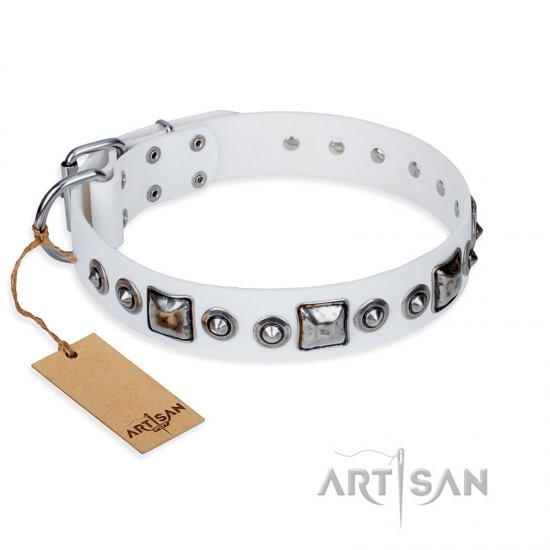 'Lustre of Fame' FDT Artisan White Studded Leather Doberman Dog Collar - 1 1/2 inch (40 mm) wide