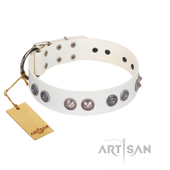 """Ancient Mystery"" FDT Artisan Handmade White Leather Doberman Collar with Silver-like Fitting"
