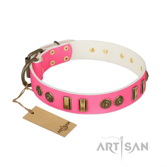 """Pink Amulet"" FDT Artisan Leather Doberman Collar with Old Bronze-like Plates and Circles"