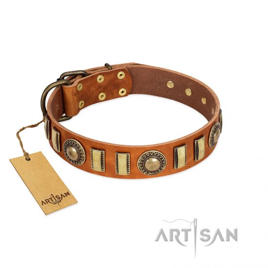"""Happy Hound"" FDT Artisan Tan Leather Doberman Collar with Elegant Decorations"