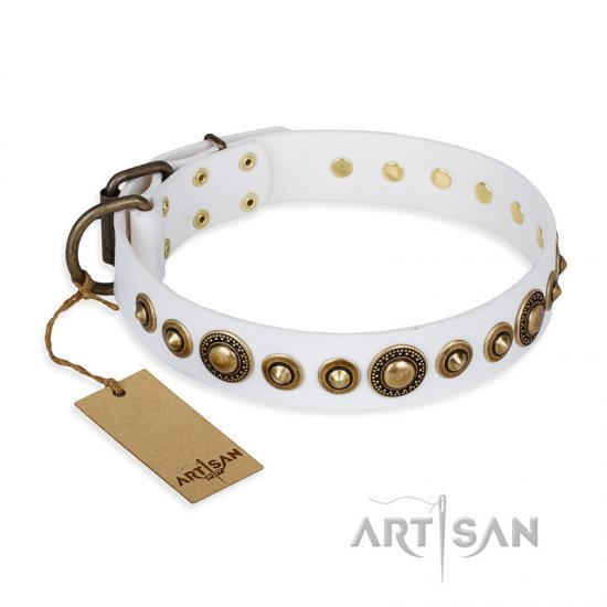 'Swirl of Fashion' FDT Artisan Delicate White Leather Doberman Collar with Stunning Bronze-like Plated Round Studs