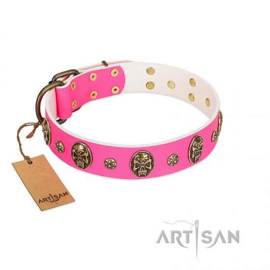 """Fashion Show"" FDT Artisan Pink Leather Doberman Collar with Old Bronze-like Skulls and Studs"