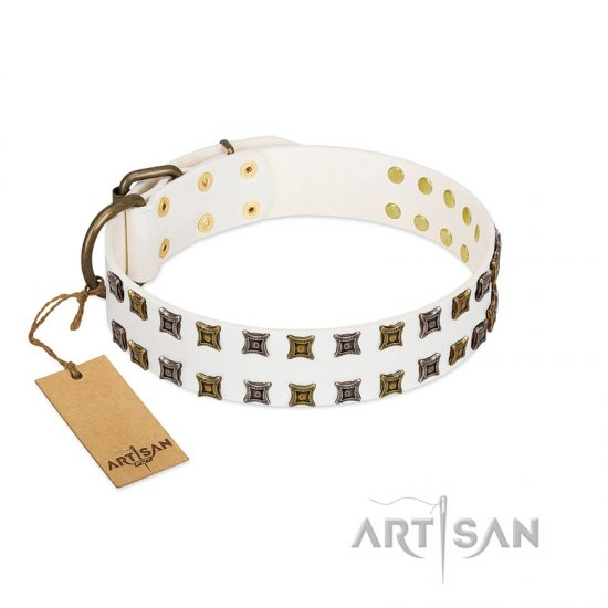 """Ice Peak"" FDT Artisan White Leather Doberman Collar with Silvery and Goldish Decorations"