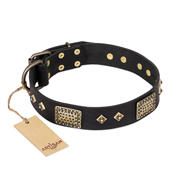 'Jewel Passion' FDT Artisan Fashionable Black Leather Doberman Dog Collar