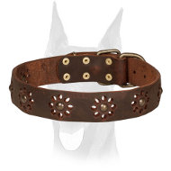 """Spring mood"" Leather Doberman Collar with Punched Flowers"