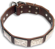 Leather Brown collar 25'' for Doberman /25 inch dog collar- c83