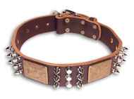 Spiked Brown collar 24'' for Doberman /24 inch dog collar-C86