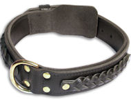 Leather Black collar 26'' for Doberman/26 inch dog collar-C55s33
