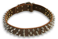 Leather Brown collar 25'' for Doberman /25 inch dog collar-S44