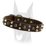 Perfect fit 3 rows studded leather collar for Doberman