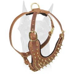 Adjustable Spiked Leather Dog Harness for Doberman Walking and Training