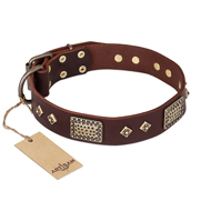 FDT Artisan 'Loving Owner' Decorated Leather Doberman Dog Collar with Plates and Studs 1 1/2 inch (40 mm)