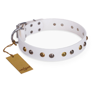 'Snowflake' FDT Artisan White Leather Doberman Collar with Decorations