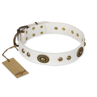 """Adorable Dream"" Elegant FDT Artisan White Leather Doberman Collar with Vintage Adornment"