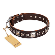 'Perfect Impression' FDT Artisan Brown Leather Doberman Collar with Silvery Square Studs - 1 1/2 inch (40 mm) Wide