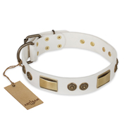'Golden Avalanche' FDT Artisan White Leather Doberman Dog Collar with Plates and Circles - 1 1/2 inch (40 mm) wide