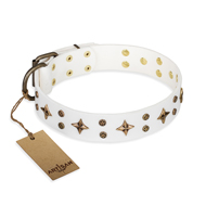 """Bright stars"" FDT Artisan Superb White Leather Doberman Collar"