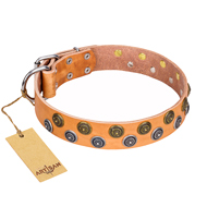 """Precious Sparkle"" FDT Artisan Handcrafted Tan Leather Dog Collar"
