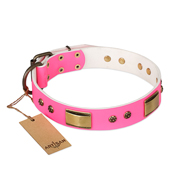 'Pink Dreams' FDT Artisan Doberman Leather Dog Collar with Adornments 1 1/2 inch (40 mm) wide