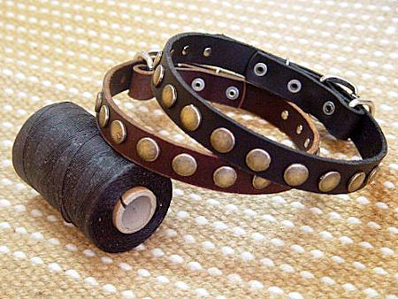 Puppy Studded Leather Collars narrow collar Doberman