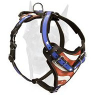 "Extra strong protective leather Doberman harness ""American Pride"""