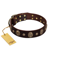 """Breaking the Horizon"" FDT Artisan Brown Leather Doberman Collar with Engraved Studs and Medallions"