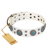 """Blue Sapphire"" Designer FDT Artisan White Leather Doberman Collar with Round Plates and Square Studs"