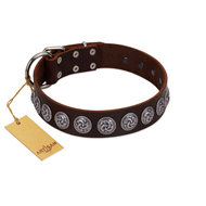 """Charming Circles"" FDT Artisan Brown Leather Doberman Collar with Silver-like Studs"