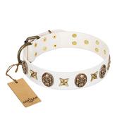 """Fads and Fancies"" FDT Artisan White Leather Doberman Collar with Stars and Skulls"