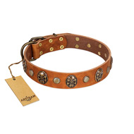 """Call of Feat"" FDT Artisan Tan Leather Doberman Collar with Old Bronze-like Studs and Oval Brooches"
