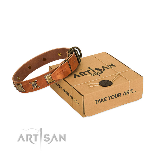 Awesome full grain genuine leather dog collar with rust-proof adornments