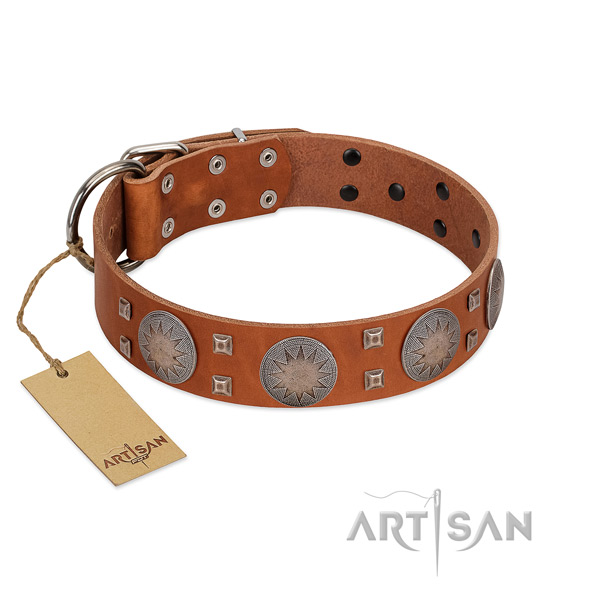 Easy to adjust full grain leather collar for your lovely canine