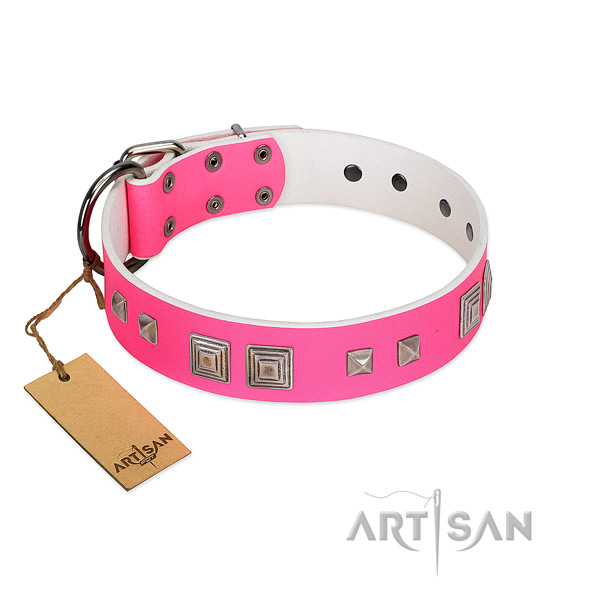Stylish walking reliable full grain natural leather dog collar