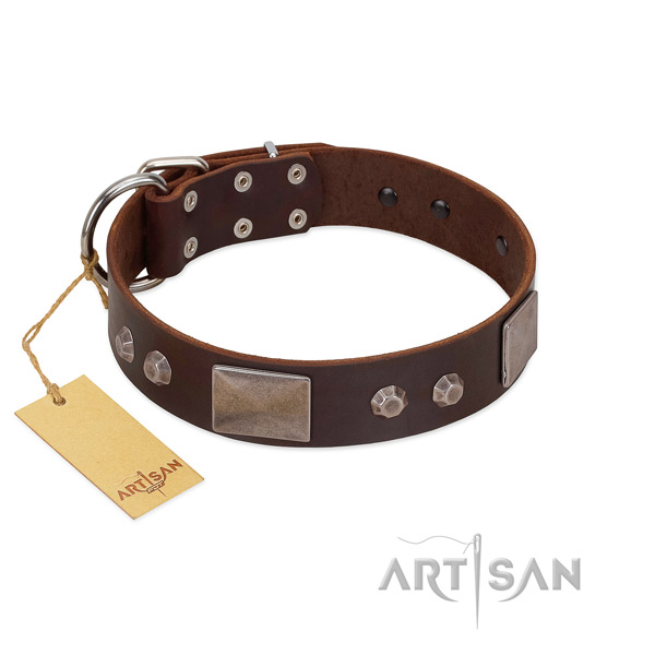 Adjustable natural leather dog collar with rust-proof hardware