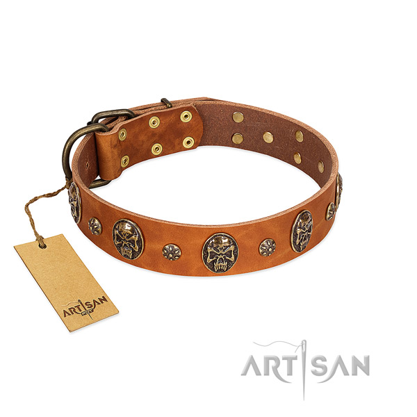 Exquisite full grain natural leather collar for your dog