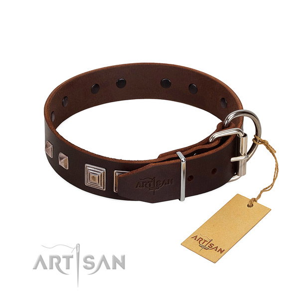 Easy wearing full grain leather dog collar with inimitable studs