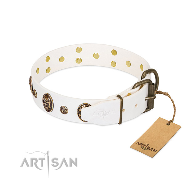 Rust-proof buckle on full grain leather dog collar for your canine