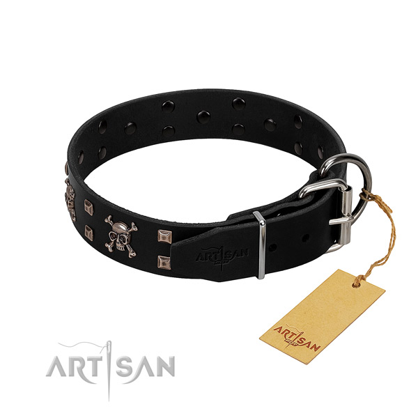 Inimitable full grain genuine leather dog collar with corrosion resistant studs