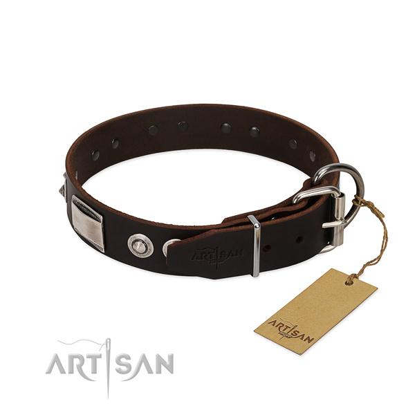 Unusual collar of full grain leather for your dog