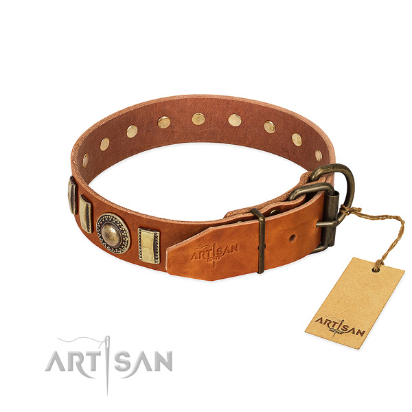 Stylish design natural leather dog collar with rust resistant traditional buckle
