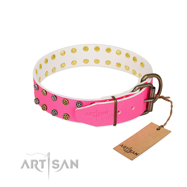 Gentle to touch full grain leather collar with studs for your canine