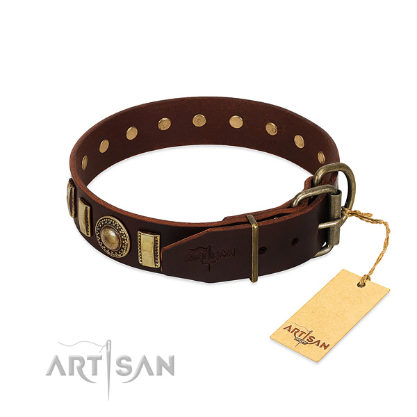 Gentle to touch leather dog collar with adornments