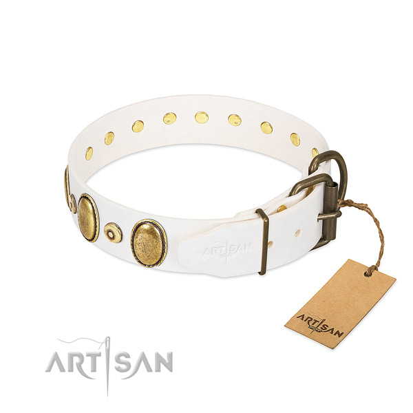 Gentle to touch full grain leather collar made for your doggie