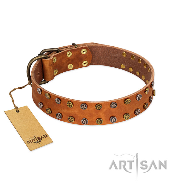 Walking gentle to touch natural leather dog collar with adornments
