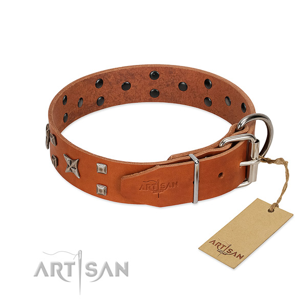 Soft genuine leather collar handcrafted for your dog