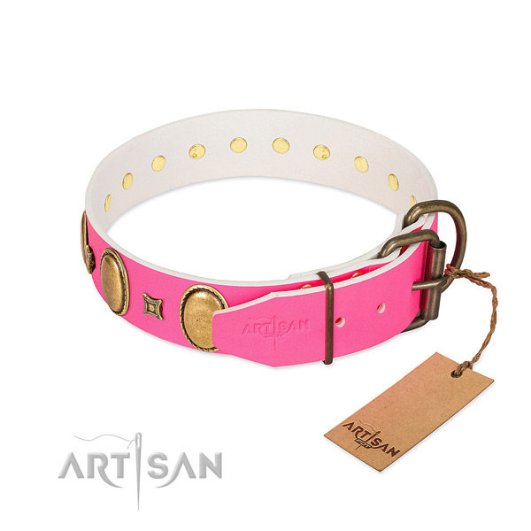 Flexible full grain genuine leather collar crafted for your dog